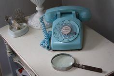 blue vintage telephone (60's)