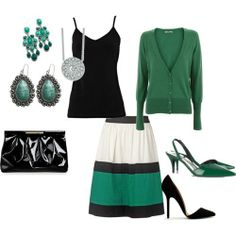 green and black skirt work outfit