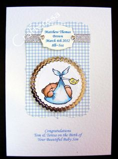 PERSONALISED New BABY Card HANDMADE Cute Congratulations Birth. Christening or Baptism Gingham. £3.99, via Etsy. Handmade Cards, Handmade Gifts, New Baby Cards, Newborns, Beautiful Babies, Christening, Gingham, Cardmaking, Stamping