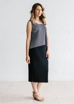 Grand Pleat Tank - Charcoal from Blossom and Glow blossomandglow.com.au