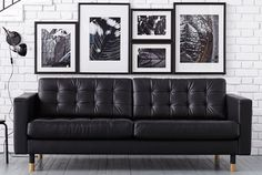 IKEA Landskrona Leather sofa Restaurant Chairs For Sale, Salons, Couch, Furniture, Home Decor, Homemade Home Decor, Lounges, Settee, Diy Sofa