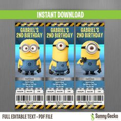 Minions Birthday Ticket Invitations (Lab Set) - This is an editable PDF file that you can personalize and edit at home with Adobe Reader - Simply type over our sample text in the highlighted fields. Print your file at home as many times as you like.