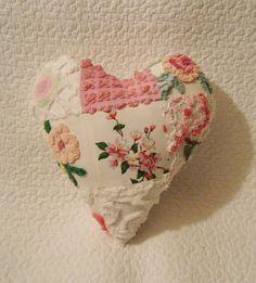 Victorian Nosegay Vintage Chenille Valentine Pillow Patchwork Heart by SurelyChenille Valentine Heart, Valentine Crafts, Valentines, Valentine Pillow, Heart Day, I Love Heart, Textiles, Chenille Crafts, Patchwork Heart