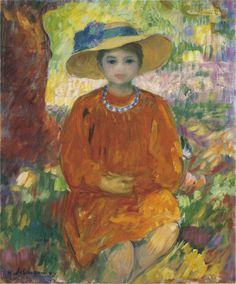Henri Lebasque - Young Girl in Orange Dress, nd.