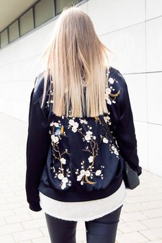 On Sale : $60  Black Floral Bomber Jacket from Pasaboho * featuring  embroidery of Sakura flowers and birds. Free Spirit hippie girls sharing woman outfit ideas. bohemian clothes, cute dresses and skirts. Fashion trend and styles from hippie chic, modern vintage, gypsy style, boho chic, hmong ethnic, street style, geometric and floral outfits.  We Love boho style and embroidery stitches.