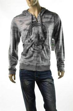 Calvin Klein Sweatshirt Gray Mens Skull Graphic Full Zip Hoodie Jacket Sz L NWT  #5 Gables eBay Calvin Klein