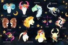 Zodiac Watercolor by Webvilla Design on @creativemarket