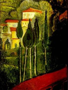 'Landscape' by Italian painter & sculptor Amedeo Modigliani (1884-1920). via fine art delivered
