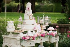 Boho / Enchanted Wedding Cake Table idea !  A cake on top of a french dressing table... I love it