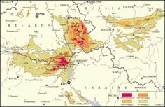 Карта зони радиактивного зараження на території України, Білорусі та Московії