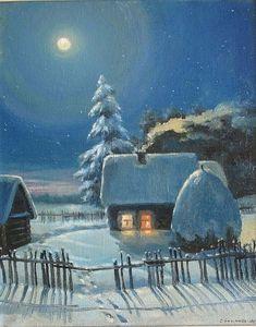 Christmas Illustration, Illustration Art, Winter Szenen, Winter Wallpaper, Winter Painting, Guache, Snow Scenes, Window Art, Country Art