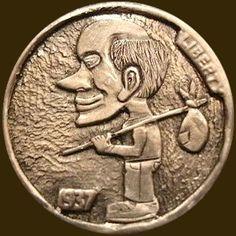 JOEY BLAYLOCK HOBO NICKEL - 1937 BUFFALO NICKEL Hobo Nickel, Buffalo, Coins, Carving, Money, Wood Art, Dibujo, Rooms, Silver