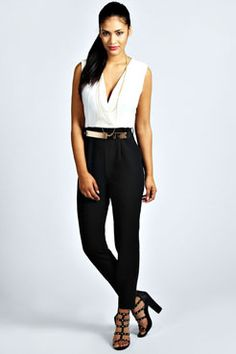 Beau Deep V Belted Woven Jumpsuit from boohoo. Saved to Ylonita's Favorite Clothes. Rompers Women, Jumpsuits For Women, Grey Fashion, Love Fashion, Casual Outfits, Fashion Outfits, Fashion Tips, Office Outfits, Romper With Skirt