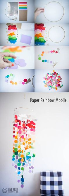 Because it has been feeling a lot like spring around here, I decided to celebrate with this bright and colorful Paper Rainbow Mobile DIY. Come make one!