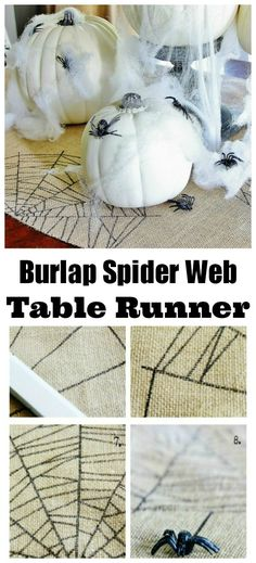 This an easy project for your Halloween table.  Make a table runner with spider webs from a sharpie!  So easy....just add the spiders thistlewoodfarms.com