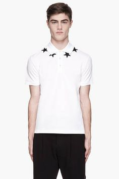 Givenchy White star applique polo on shopstyle.com