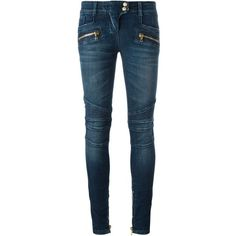 Balmain Jeans With Zip and Buttons ($890) ❤ liked on Polyvore featuring jeans, pants, navy, navy blue jeans, 5 pocket jeans, button-fly jeans, zip fly jeans and zipper jeans