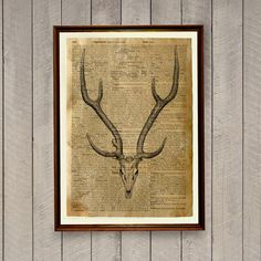 8.3 x 11.7 inches (A4) deer skull poster. Anatomy print on handmade antique paper. Lovely cabin decor.  Please see all the photos for more important
