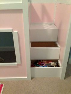 Playhouse Loft Beds - Zipperhead Creations with lots of storage! Bunk Beds Built In, Loft Beds, Girl Room, Girls Bedroom, Playhouse Loft Bed, Building A Basement, Play Houses, To My Daughter, Bathroom Medicine Cabinet