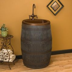 Aged Whiskey Barrel Bar Sink With Hammered Copper Sink Top