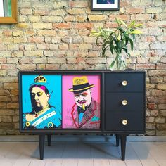 Upcycled Vintage Retro Meredew Sideboard Cabinet Decoupaged British Pop Art   eBay