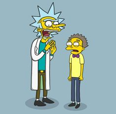 Rick and Morty x The Simpsons Dope Cartoons, Dope Cartoon Art, Disney Cartoons, Rick And Morty Episodes, Rick And Morty Characters, Rick And Morty Crossover, Rick And Morty Tattoo, Rick I Morty, Ricky And Morty