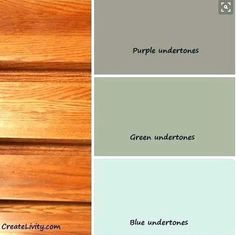 Remember to go with green undertone in the grey for kitchen paint.Great color base information - for accenting the honey oak kitchen cabinet look Bathroom Paint Colors, Kitchen Paint Colors, Wall Paint Colors, Paint Colors For Home, Paint Walls, Wood Furniture Paint Colors, Warm Kitchen Colors, Cabin Paint Colors, Rustic Paint Colors