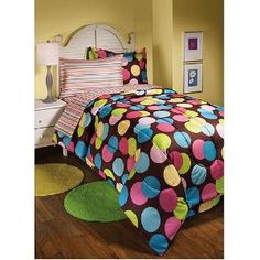 Polka Dots Hot Dots Twin Brown & Pink Comforter Set - For Madison?