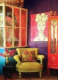 ⋴⍕ Boho Decor Bliss ⍕⋼ bright gypsy color & hippie bohemian mixed patter… - Bohemian Home İdeas Bohemian Style Rooms, Bohemian Interior, Bohemian Decor, Hippie Bohemian, Modern Bohemian, Boho Style, Bohemian Bedding, Hippie Chic, Hippie Style
