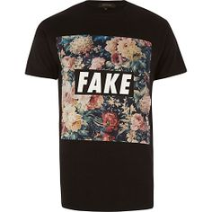 Black floral fake print t-shirt