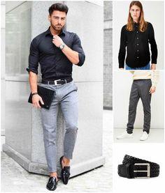 fitted men's black shirt and grey pants Fashion Mode, Fashion Night, Work Fashion, Urban Fashion, Men Fashion, Fashion Outfits, Trendy Fashion, Fashion Black, Fasion