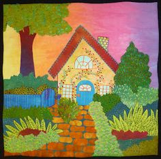 Gardener's Cottage by Laura Wasilowski for Fanciful Stitches, Colorful Quilts