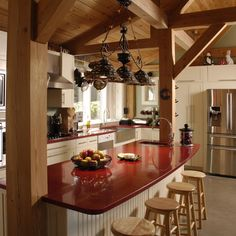 Kitchen island on pinterest kitchen islands post and for Post and beam kitchen ideas