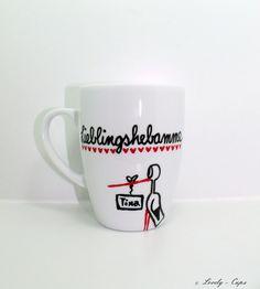 Hebamme Geschenk schöne Tasse Namenstasse von Lovely-Cups   auf DaWanda.com