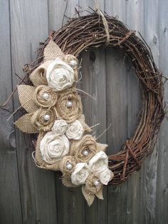 Burlap Wreath with Muslin & Pearls. $40.00, via Etsy.