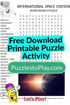 This is a fun International Space Station word search puzzle for kids. Free download. Printable and ready to play. Printable Word Games, Free Printable Word Searches, Printable Puzzles, Crossword Puzzles, Free Printable Worksheets, Printable Labels, Free Printables, Free Word Search Puzzles, International Space Station