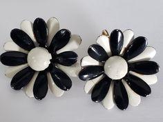 Valentine Heart, Valentine Day Gifts, Flower Earrings, Clip On Earrings, Back To Black, Black And White, More Than One, White Enamel, Ceramic Vase