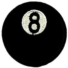 """Round 8 Ball Embroidered Patch - Approx 3"""" - Circular - High Quality Embroidered Iron-On Patch"""