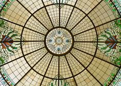 Stained Glass on the roof of the lobby at the Grand Floridian in Walt Disney World.