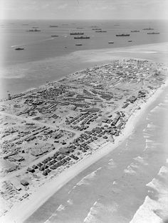 The Kwajalein Atoll (of the Marshall Islands) following the US Marine invasion, 1944
