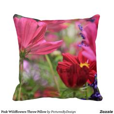 Pink Wildflowers Throw Pillow