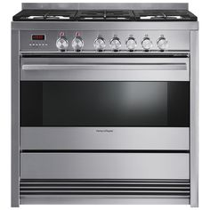 100L capacity, 7 oven functions, 5 burners including wok, flame failure safety, storage drawer, pyrolytic self-cleaning, cast iron trivets