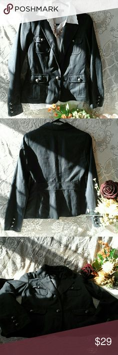 "Formal pinstripe jacket! Like new, one button missing in front. Beautiful buttons add special touch! 4 pockets in front. 40% polyester,  60% rayon,  lining 100% polyester.  Tiny fade like pinstripes of dark navy blue & beige. Elegantly made, laying flat: breast 32"", length 23"" New York & Company Jackets & Coats Blazers"