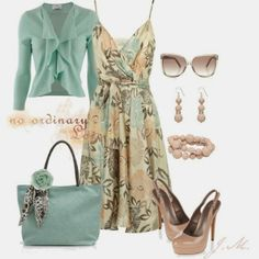 Spring Outfits | Love Armand Basi dress, Allude Pistachio cardigan, Pale pink shoes, AX Paris bag