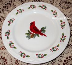 """Gibson Designs Winter Birds Red Cardinal Holly Salad Plate 8.25""""  New With Tag #Gibson"""