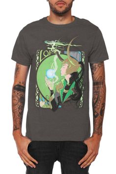 Dark+grey+T-shirt+with+an+ornate+illustration+of+Loki,+God+of+Mischief.