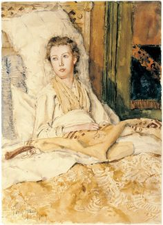 Maude Sewing - Childe Hassam 1883 Graphite and watercolor, St. Louis Art Museum, St. Louis, MO