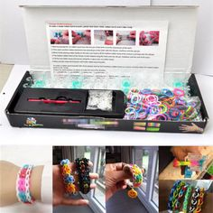 600 Mixed Colored Rubber Bands 24 Clips 1 Loom 1 Hook DIY For Rainbow Loom Kit