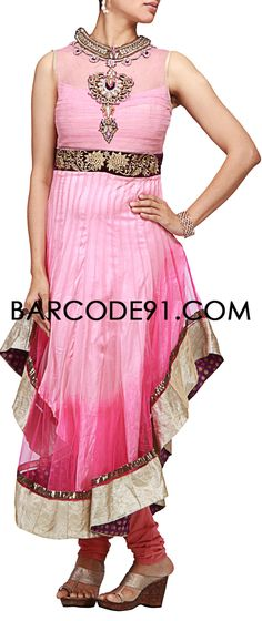 Buy it now  http://www.barcode91.com/an-anarkali-dress-in-a-very-unique-cut-at-the-hem-with-embroidery-on-neck-and-waist-band-by-b91-exclusive.html  An anarkali dress in a very unique cut at the hem with embroidery on neck and waist band by B91 Exclusive