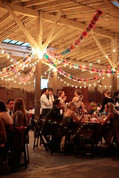 Bunting and festoon lights are simply perfect for barn weddings!